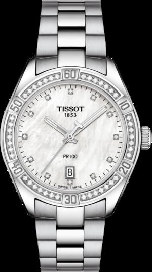 Damenuhr Tissot PR 100 Quartz Lady mit Diamanten, perlmuttfarbenem Zifferblatt und Edelstahlarmband
