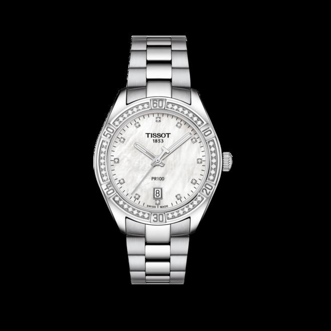 Damenuhr Tissot PR 100 Quartz Lady mit Diamanten, perlmuttfarbenem Zifferblatt und Edelstahlarmband bei Brogle