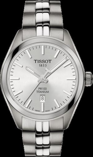Damenuhr Tissot PR 100 Quartz Lady Titanium mit silberfarbenem Zifferblatt und Titanarmband