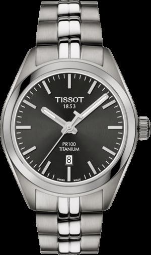 Damenuhr Tissot PR 100 Quartz Lady Titanium mit schwarzem Zifferblatt und Titanarmband