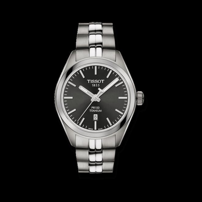 Damenuhr Tissot PR 100 Quartz Lady Titanium mit schwarzem Zifferblatt und Titanarmband bei Brogle