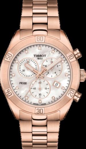 Damenuhr Tissot PR 100 Sport Chic Chronograph mit Diamanten, perlmuttfarbenem Zifferblatt und Edelstahlarmband