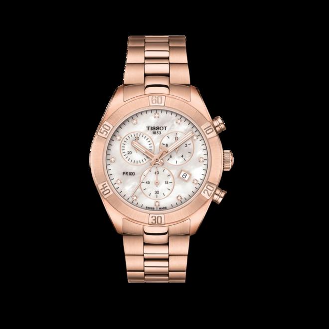 Damenuhr Tissot PR 100 Sport Chic Chronograph mit Diamanten, perlmuttfarbenem Zifferblatt und Edelstahlarmband bei Brogle