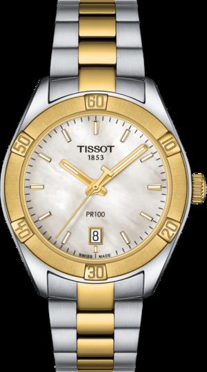 Damenuhr Tissot PR 100 Sport Chic mit weißem Zifferblatt und Edelstahlarmband