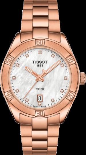 Damenuhr Tissot PR 100 Sport Chic mit perlmuttfarbenem Zifferblatt und Edelstahlarmband