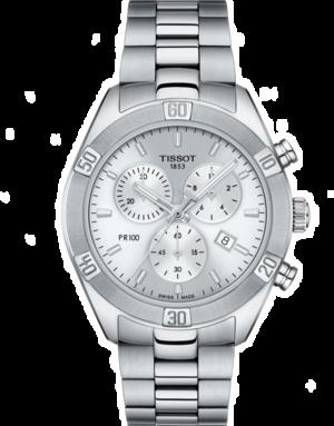 Damenuhr Tissot PR 100 Sport Chronograph mit silberfarbenem Zifferblatt und Edelstahlarmband