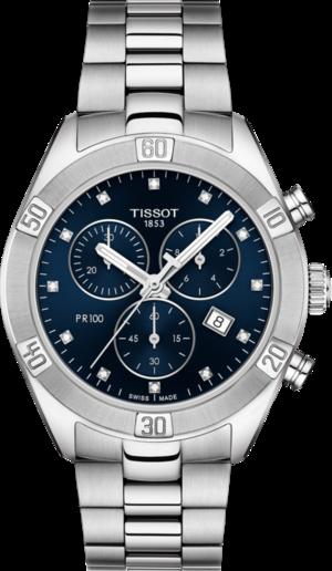 Damenuhr Tissot PR 100 Sport Chronograph mit blauem Zifferblatt und Edelstahlarmband