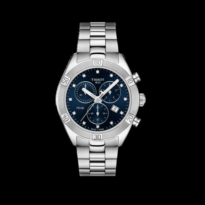Damenuhr Tissot PR 100 Sport Chronograph mit blauem Zifferblatt und Edelstahlarmband bei Brogle