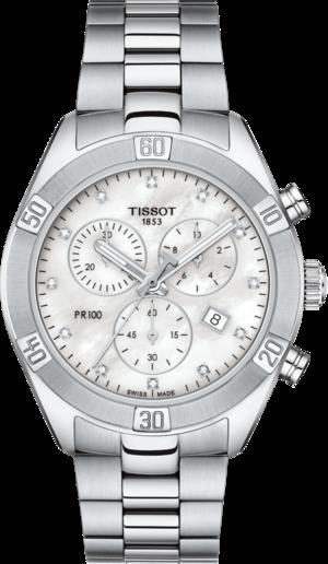 Damenuhr Tissot PR 100 Sport Chronograph mit Diamanten, silberfarbenem Zifferblatt und Edelstahlarmband