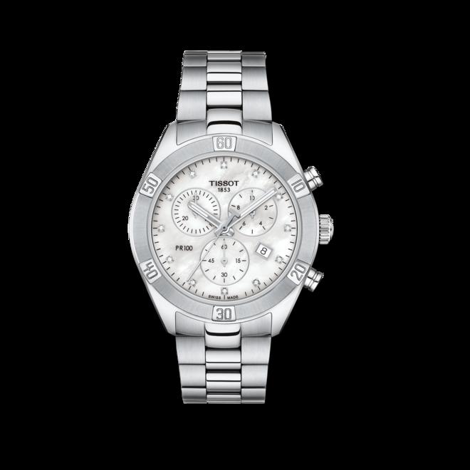 Damenuhr Tissot PR 100 Sport Chronograph mit Diamanten, silberfarbenem Zifferblatt und Edelstahlarmband bei Brogle