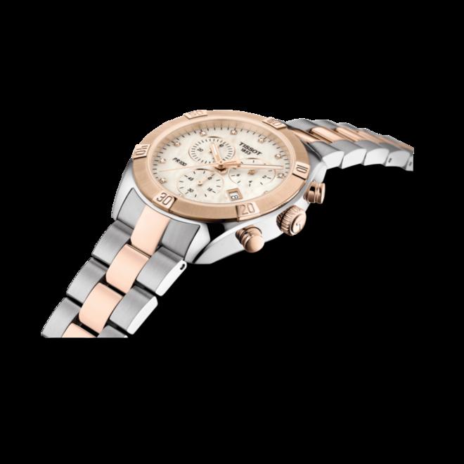 Damenuhr Tissot PR 100 Sport Chronograph mit Diamanten, weißem Zifferblatt und Edelstahlarmband bei Brogle