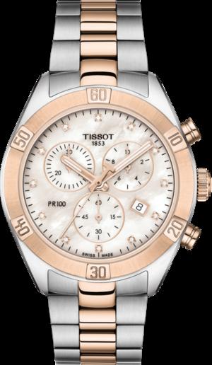 Damenuhr Tissot PR 100 Sport Chronograph mit Diamanten, weißem Zifferblatt und Edelstahlarmband