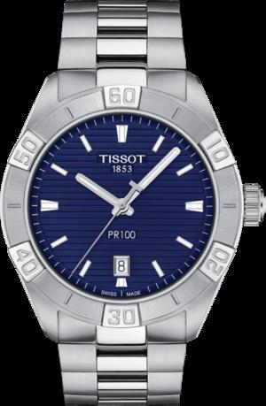 Herrenuhr Tissot PR 100 Sport Gent Quarz mit blauem Zifferblatt und Edelstahlarmband