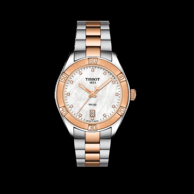 Damenuhr Tissot PR 100 Sport Lady mit Diamanten, weißem Zifferblatt und Edelstahlarmband bei Brogle