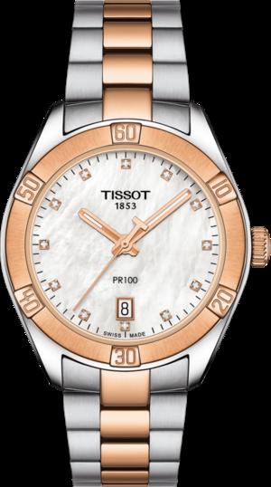 Damenuhr Tissot PR 100 Sport Lady mit Diamanten, weißem Zifferblatt und Edelstahlarmband