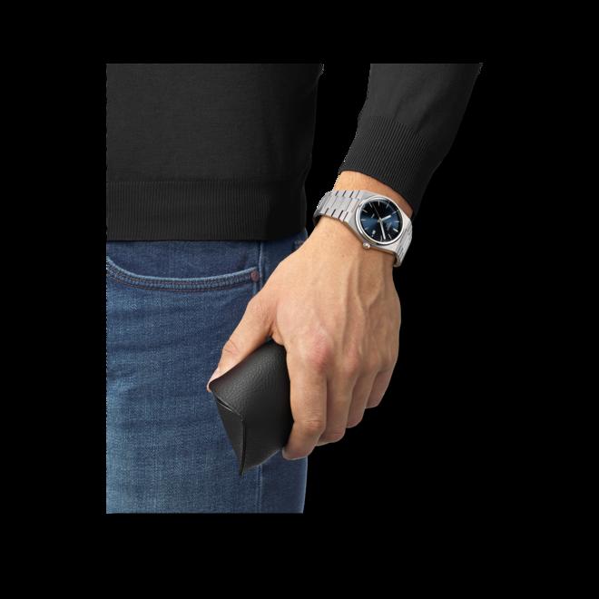 Herrenuhr Tissot PRX 40 205 Quarz mit blauem Zifferblatt und Edelstahlarmband bei Brogle