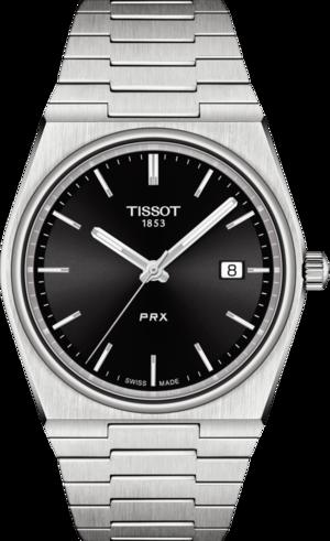 Herrenuhr Tissot PRX 40 205 Quarz mit schwarzem Zifferblatt und Edelstahlarmband