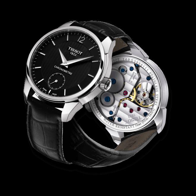 Herrenuhr Tissot T-Complication Chronometer mit schwarzem Zifferblatt und Kalbsleder-Armband