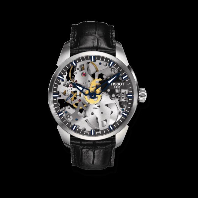 Herrenuhr Tissot T-Complication Squelette mit Kalbsleder-Armband