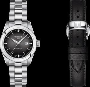 Damenuhr Tissot T-My Lady Automatic 29mm mit Diamanten, anthrazitfarbenem Zifferblatt und Edelstahlarmband
