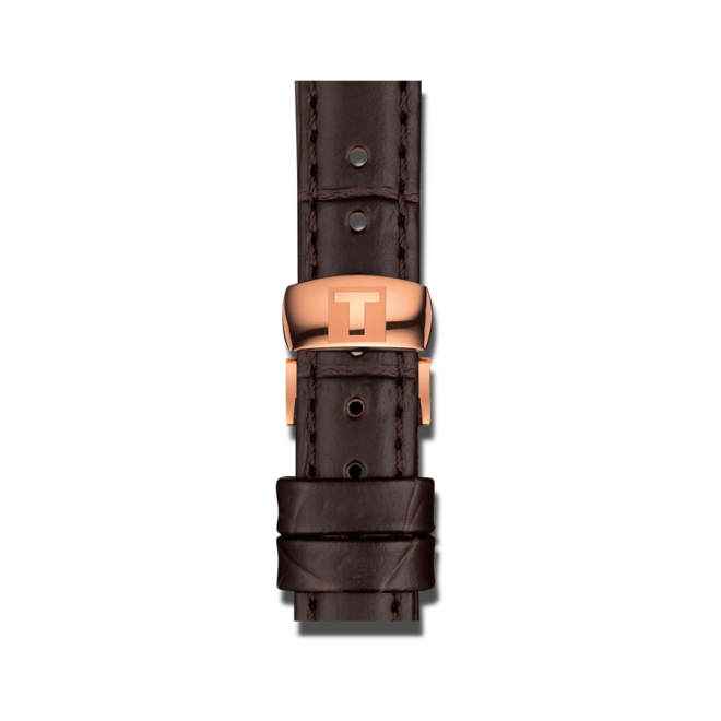 Damenuhr Tissot Tradition 5.5 Lady mit silberfarbenem Zifferblatt und Rindsleder-Armband bei Brogle