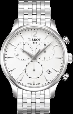 Herrenuhr Tissot T-Classic Tradition Chronograph mit silberfarbenem Zifferblatt und Edelstahlarmband