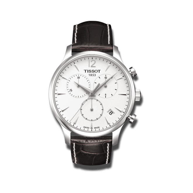 Herrenuhr Tissot T-Classic Tradition Chronograph mit weißem Zifferblatt und Kalbsleder-Armband bei Brogle