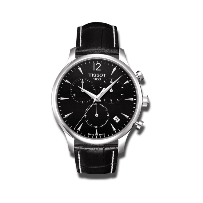 Herrenuhr Tissot T-Classic Tradition Chronograph mit schwarzem Zifferblatt und Kalbsleder-Armband bei Brogle