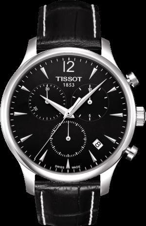 Herrenuhr Tissot T-Classic Tradition Chronograph mit schwarzem Zifferblatt und Kalbsleder-Armband