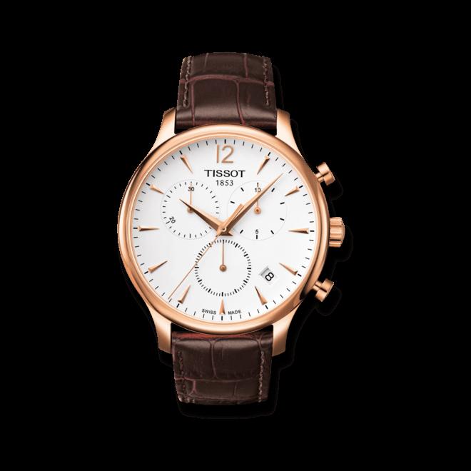 Herrenuhr Tissot T-Classic Tradition Chronograph mit silberfarbenem Zifferblatt und Kalbsleder-Armband bei Brogle