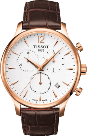 Herrenuhr Tissot T-Classic Tradition Chronograph mit silberfarbenem Zifferblatt und Kalbsleder-Armband