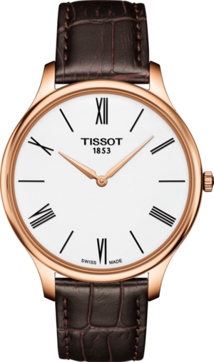 Herrenuhr Tissot Tradition Gent Slim mit weißem Zifferblatt und Armband aus Kalbsleder mit Krokodilprägung