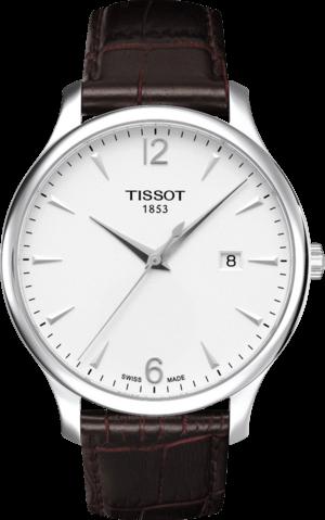 Herrenuhr Tissot Tradition Gent mit silberfarbenem Zifferblatt und Kalbsleder-Armband