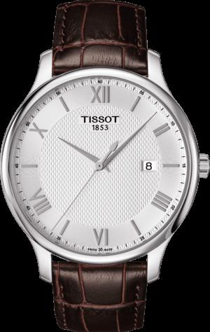 Herrenuhr Tissot Tradition Gent mit silberfarbenem Zifferblatt und Armband aus Kalbsleder mit Krokodilprägung