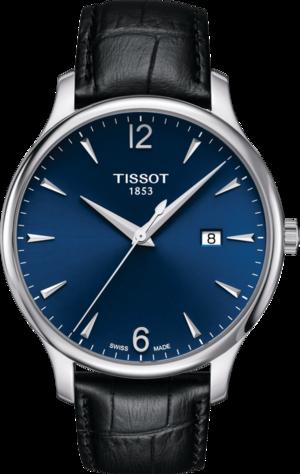 Herrenuhr Tissot Tradition Gent mit blauem Zifferblatt und Armband aus Kalbsleder mit Krokodilprägung
