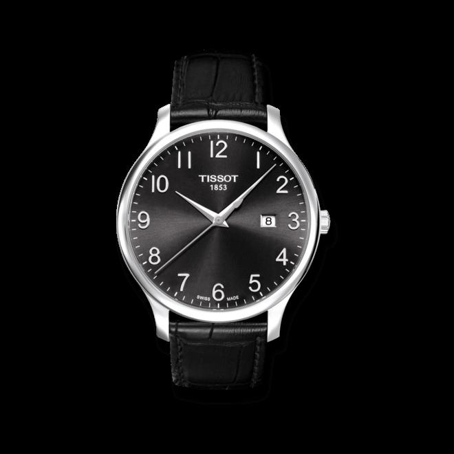 Herrenuhr Tissot Tradition Gent mit schwarzem Zifferblatt und Kalbsleder-Armband