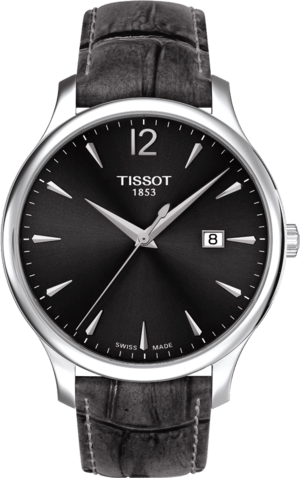 Herrenuhr Tissot Tradition Gent mit schwarzem Zifferblatt und Armband aus Kalbsleder mit Krokodilprägung