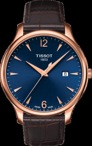 Herrenuhr Tissot Tradition Gent mit blauem Zifferblatt und Rindsleder-Armband