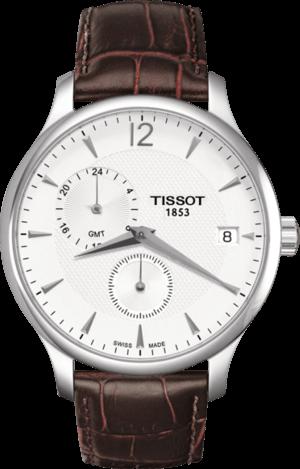 Herrenuhr Tissot Tradition GMT mit silberfarbenem Zifferblatt und Kalbsleder-Armband