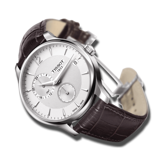 Herrenuhr Tissot Tradition GMT mit silberfarbenem Zifferblatt und Kalbsleder-Armband bei Brogle
