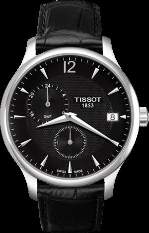 Herrenuhr Tissot Tradition GMT mit schwarzem Zifferblatt und Kalbsleder-Armband