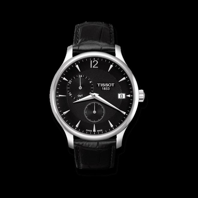 Herrenuhr Tissot Tradition GMT mit schwarzem Zifferblatt und Kalbsleder-Armband bei Brogle