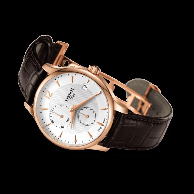 Herrenuhr Tissot Tradition GMT mit weißem Zifferblatt und Kalbsleder-Armband bei Brogle
