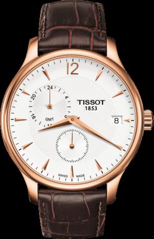 Herrenuhr Tissot Tradition GMT mit weißem Zifferblatt und Kalbsleder-Armband