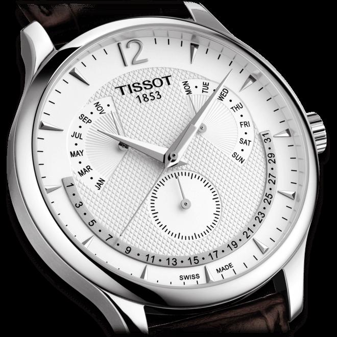 Herrenuhr Tissot Tradition Perpetual Calendar mit silberfarbenem Zifferblatt und Kalbsleder-Armband bei Brogle