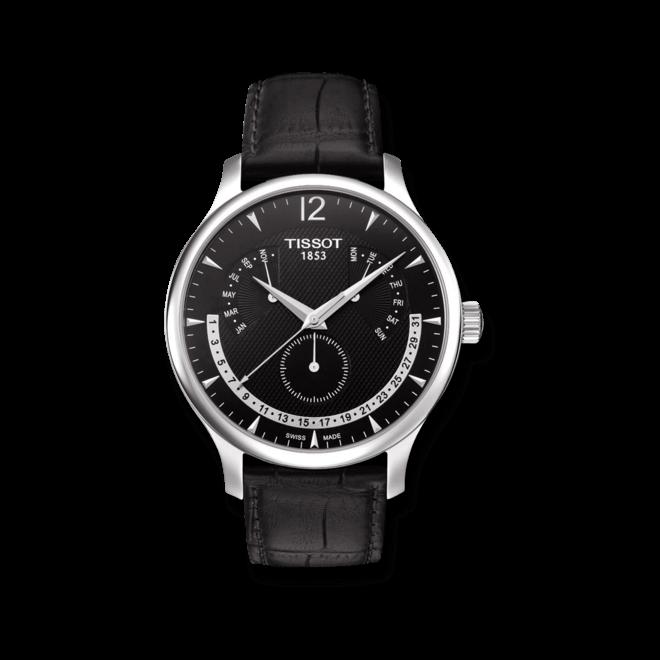 Herrenuhr Tissot Tradition Perpetual Calendar mit schwarzem Zifferblatt und Kalbsleder-Armband bei Brogle
