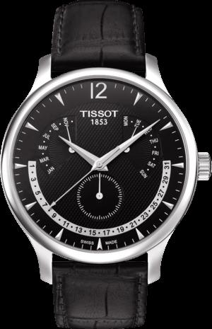 Herrenuhr Tissot Tradition Perpetual Calendar mit schwarzem Zifferblatt und Kalbsleder-Armband