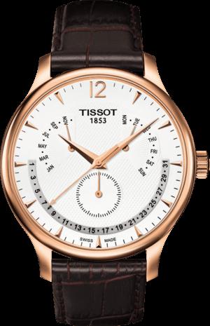 Herrenuhr Tissot Tradition Perpetual Calendar mit silberfarbenem Zifferblatt und Kalbsleder-Armband