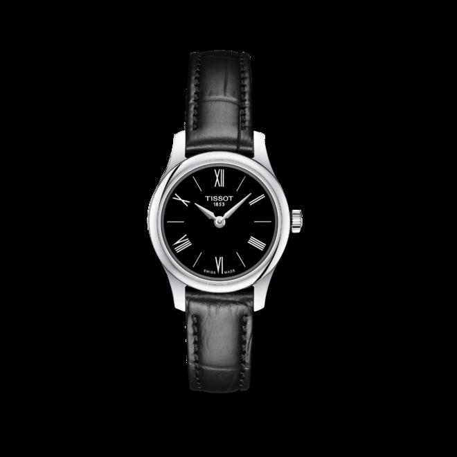 Damenuhr Tissot Tradition mit schwarzem Zifferblatt und Kunstleder-Armband bei Brogle