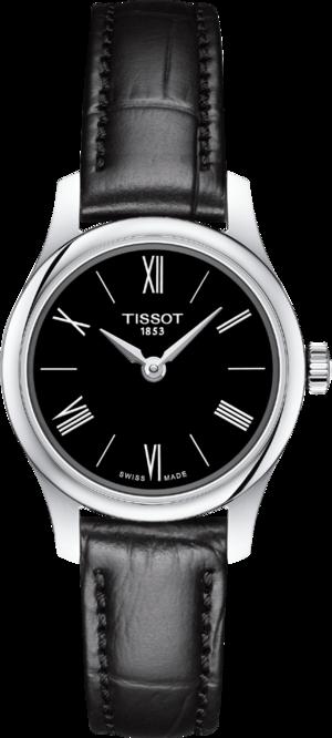 Damenuhr Tissot Tradition mit schwarzem Zifferblatt und Kunstleder-Armband
